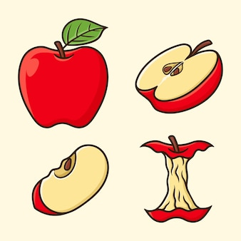 Set different angles of apple fruit cartoon vector isolated