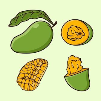 分離されたマンゴーフルーツ漫画ベクトルのさまざまな角度を設定します。
