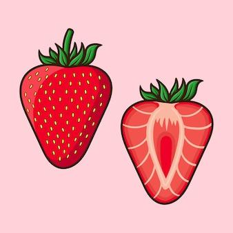 分離されたイチゴフルーツ漫画ベクトルのさまざまな角度を設定します。