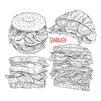 Set of different appetizing sandwiches. hand-drawn illustration