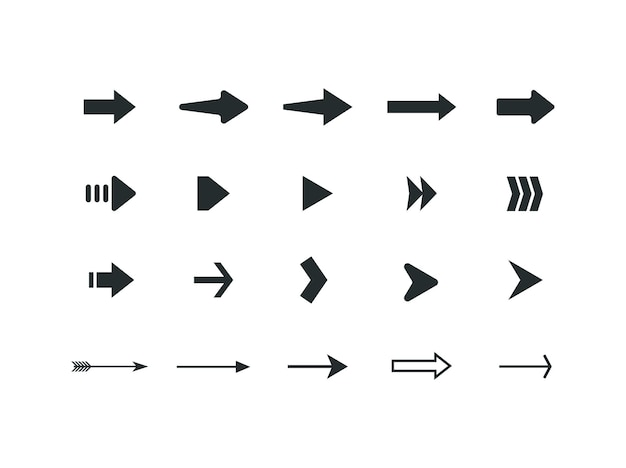 Set of different arrows pictograms