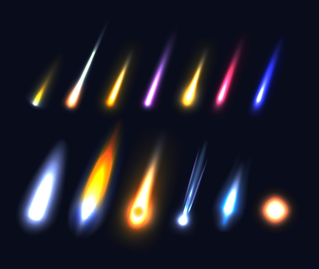 Set of different asteroids, meteors, comets and fireballs on black background
