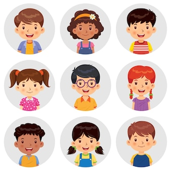 Set of different avatars of boys and girls are smiling on the gray circle flats.