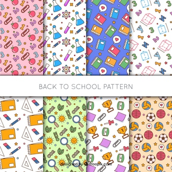 Set of different back to school patterns
