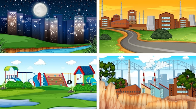 Set of different background scenes or background