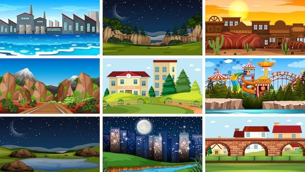 Set of different background scenes