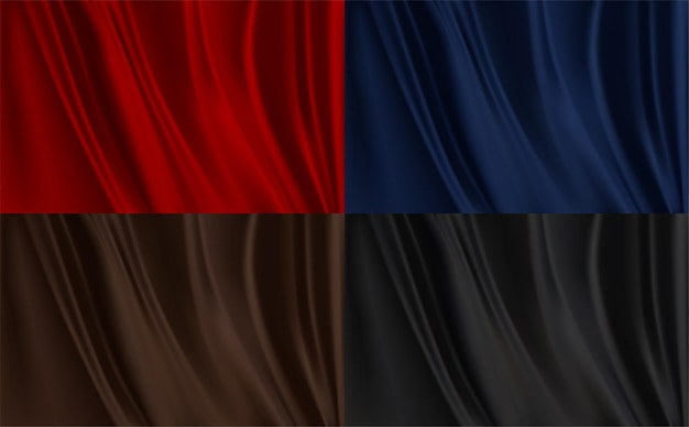 Set of different backgrounds of silk fabric texture