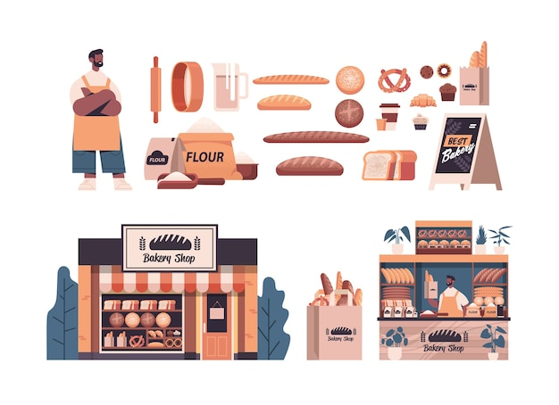 Set different bakery pastry products male baker in uniform holding bread baking concept full length isolated horizontal vector illustration