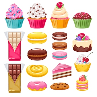 Set of different bakery sweets. assorted candies.