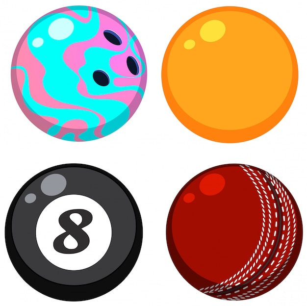 Set of different balls