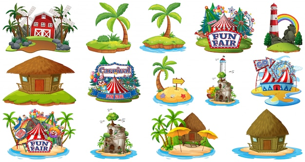 Set of different bangalows and island beach theme and amusement park and farm isolated on white background