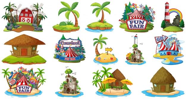Insieme dei bangalows differenti e tema della spiaggia dell'isola e parco di divertimenti e fattoria isolati su fondo bianco