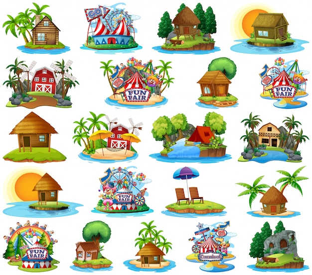 Set of different bangalows and island beach theme and amusement park isolated