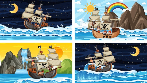 Set of different beach scenes with pirate ship and pirate cartoon character