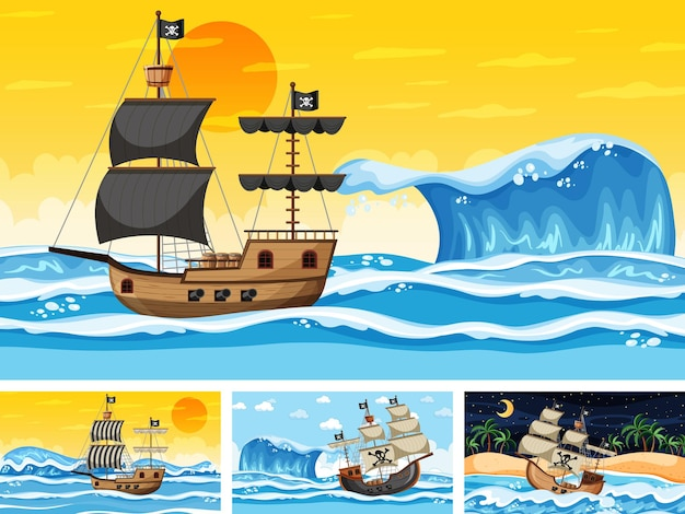 Set of different beach scenes with pirate ship