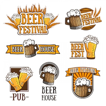 Set of different beer logos