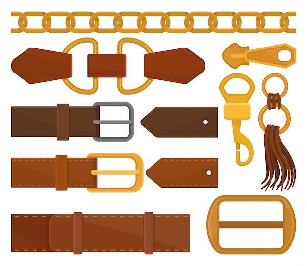 Set of different belt elements. trendy leather waistbands and tassel, golden chain, zipper pull and carabiner. fashion embellishment. colorful flat  illustrations isolated on white background.