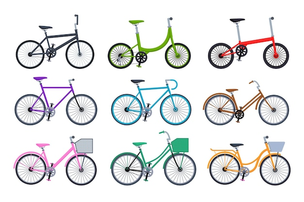 Set of different bicycles collection isolated on white background