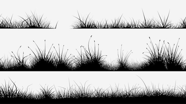 Set of different black color seamless grass silhouettes