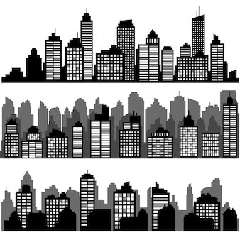 Set of different black horizontal night cityscape. city silhouettes, element for design banners,web design, architectural backgrounds