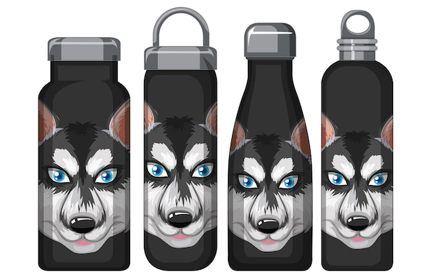 Set of different black thermos bottles with siberian husky pattern
