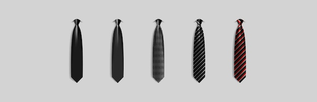 Set different black ties isolated on gray background colored tie for men