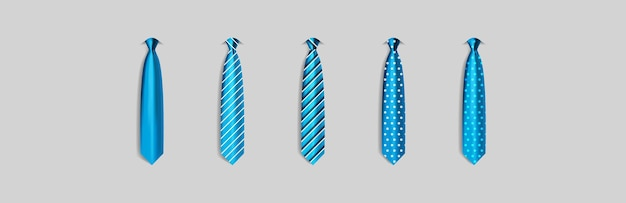 Set different blue ties isolated on gray background colored tie for men