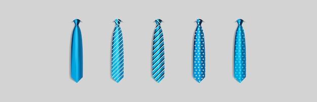 회색 배경에 고립 된 다른 파란색 넥타이 설정 남자를 위한 컬러 넥타이