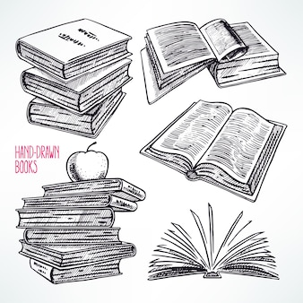 Set of different books. hand-drawn illustration