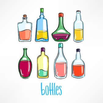 Set of different bottle with colorful beverages