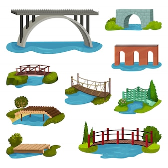 Set of different bridges. wooden, metal, brick and stone footbridges. constructions for city, backyard and park
