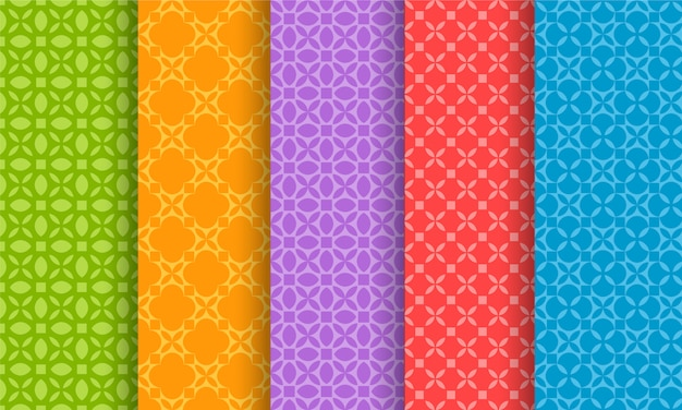 Set of different bright seamless patterns