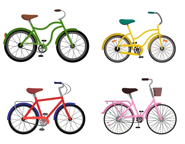 Set of different bycicles. urban bikes in flat style.