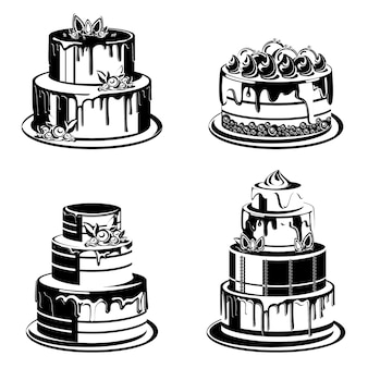 Set of different cakes in monochrome style.