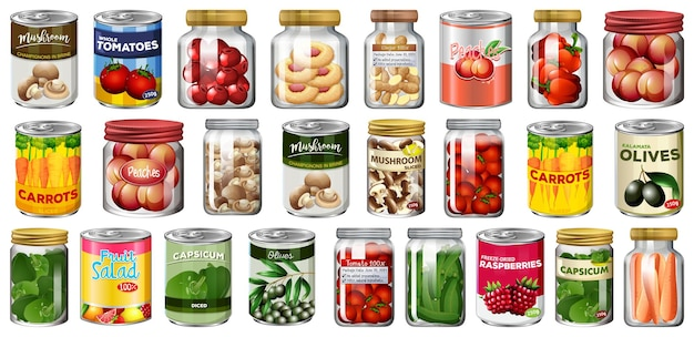 Set of different canned food and food in jars isolated