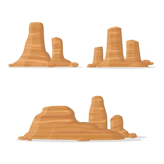 Set of different canyons, vector illustration.