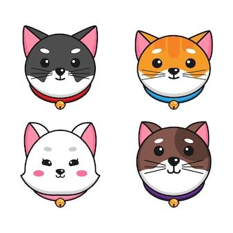 首輪を身に着けている別の漫画の猫の顔を設定します