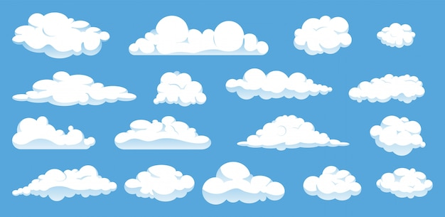 Set of different cartoon clouds isolated on blue sky.