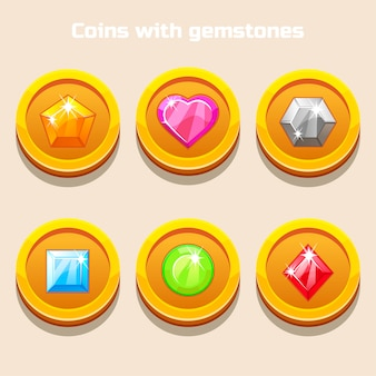 Set of different cartoon coins with colorful gemstones inside, for web game