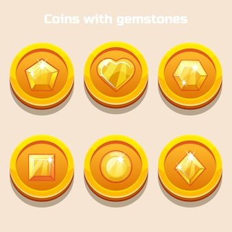 Set of different cartoon coins with gemstones inside, for web game or application interface