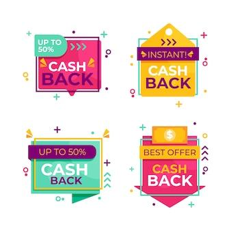 Set di diverse etichette di cashback
