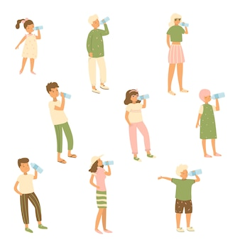 Set of different characters kid, woman, man that drinks water from bottle