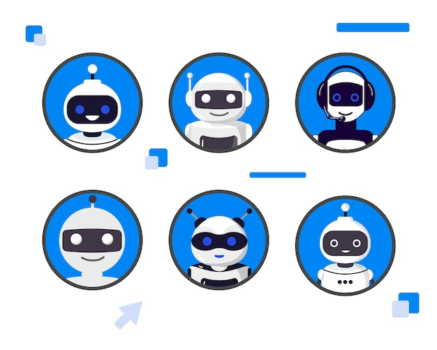 Set of different chat bot heads vector illustration collection of cyborg characters set of avatars