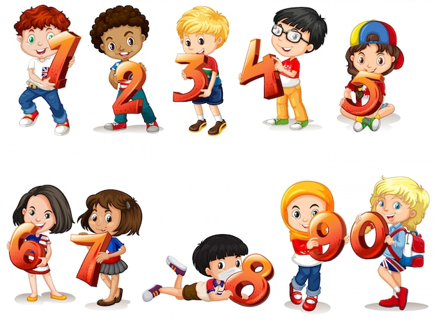 Set of different children holding math number
