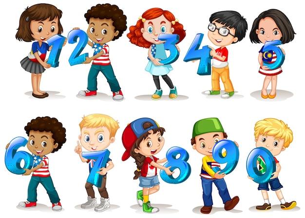 Set of different children holding math number