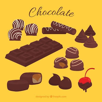 Set of different chocolate candies