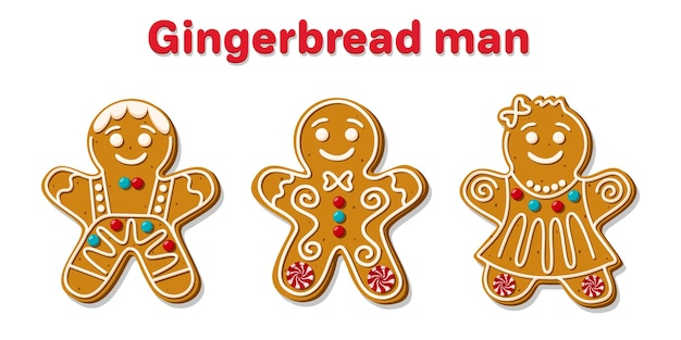 Set of different christmas gingerbread men.