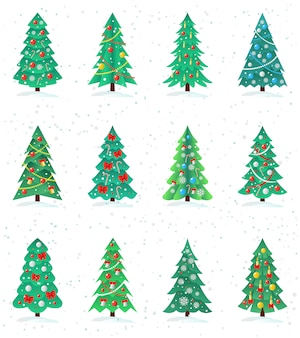 Set of different christmas trees icon