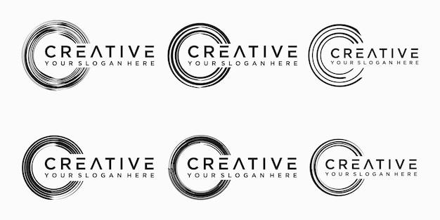 Set different circle brush strokes, hand drawn paint brush circle logo frame.