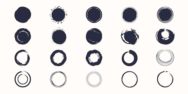 異なるサークルブラシストローク、手描きペイントブラシサークルロゴフレームを設定します
